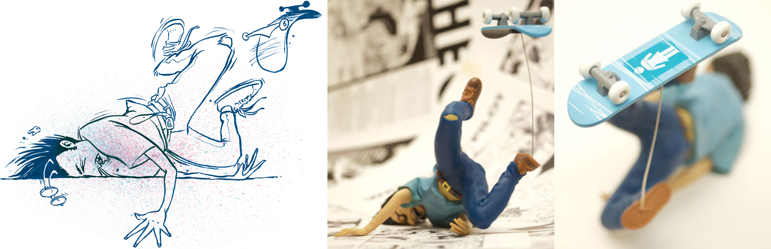 The vinyl figure was based on the ink drawing on the left.