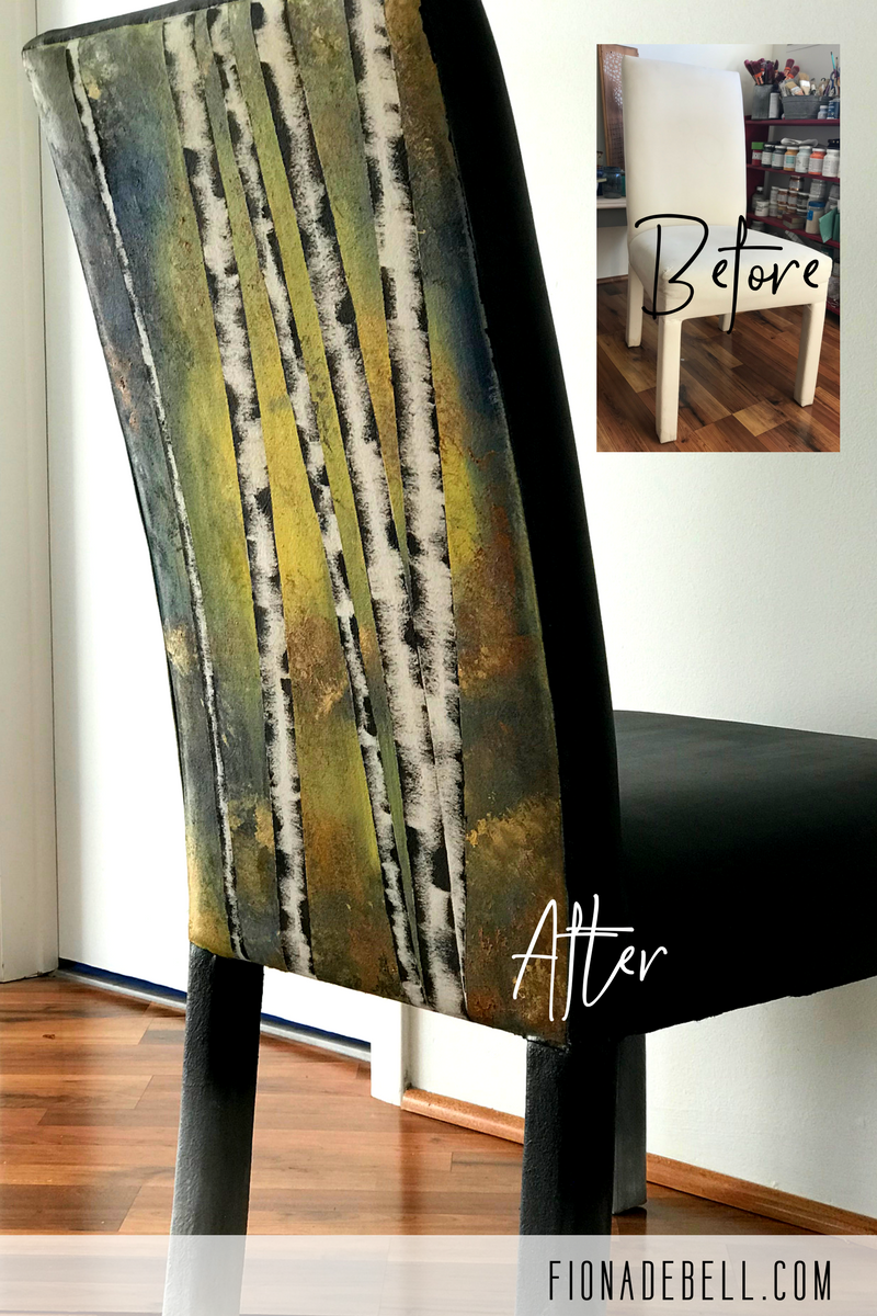 Learn 'How To' turn a plain chair into a stunning signature piece using only paint and an old gift card with Fiona Debell - The Paint Pro.  | fionadebell.com