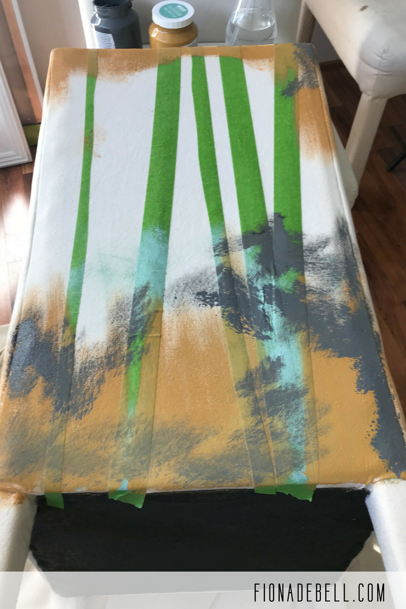 Randomly apply various paint colours to the back of the chair.  | fionadebell.com