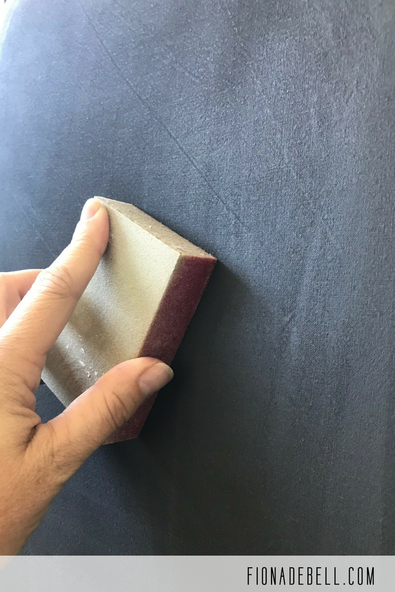 Lightly sand painted fabric in between coats.  | fionadebell.com