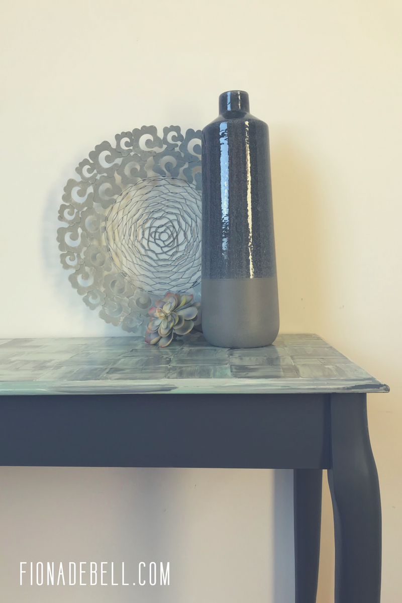 Table refinished with a funky art style top.  | fionadebell.com