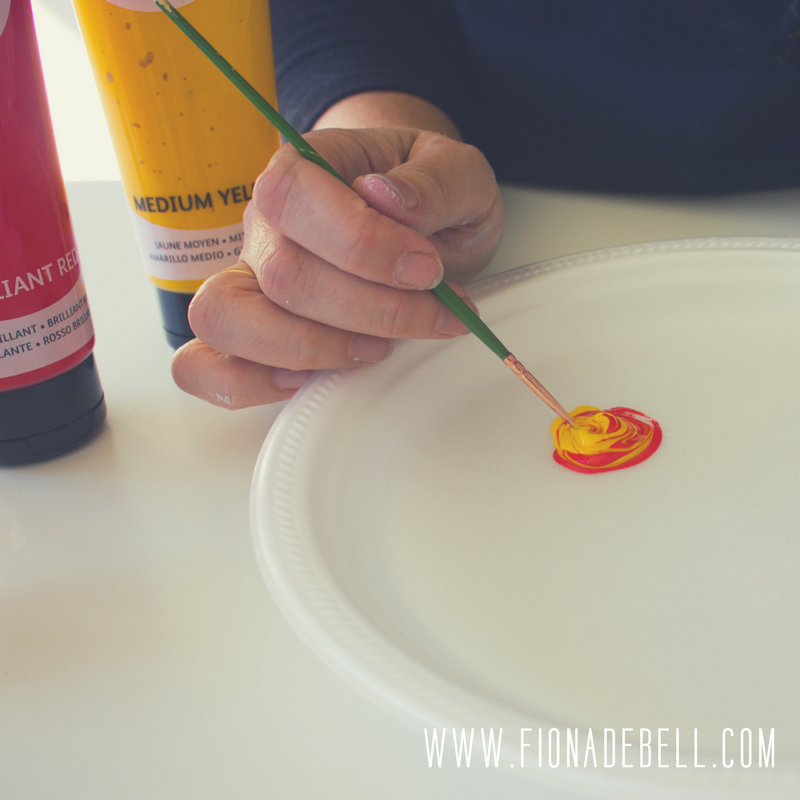 Mix yellow & red paint to create a bright orange berry colour. | fionadebell.com