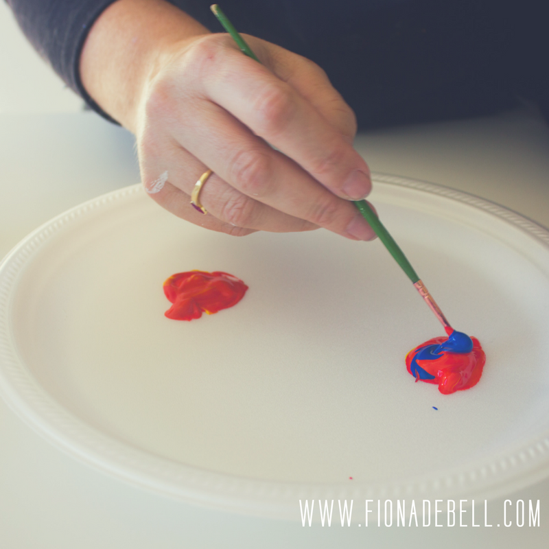 Mix together yellow, red & blue paint to make brown. | fionadebell.com
