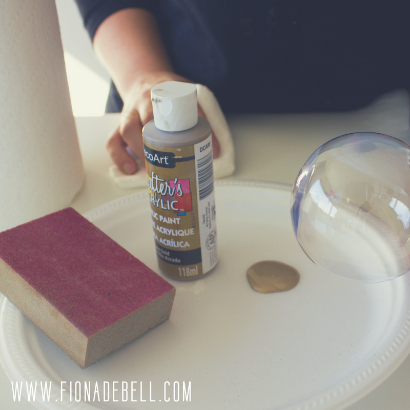 Try colouring the outside of a bauble with pretty gold paint. | fionadebell.com