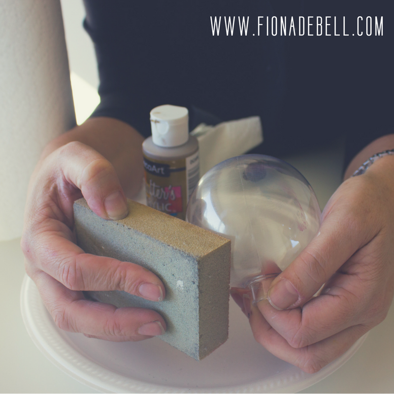 Sand the outside of a clear plastic bauble prior to painting. | fionadebell.com