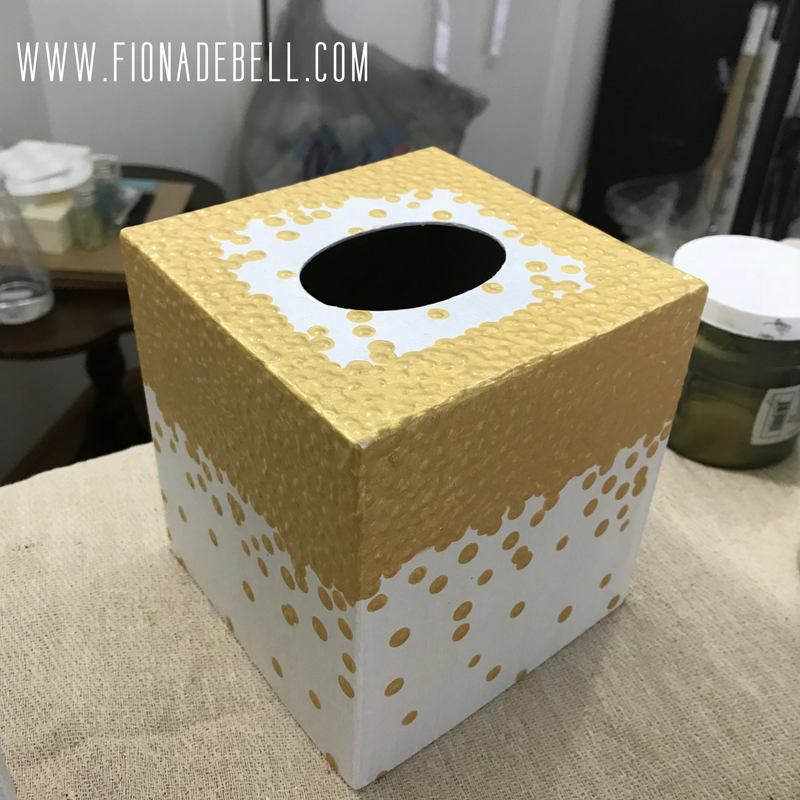 Pretty tissue box hand painted.  | fionadebell.com