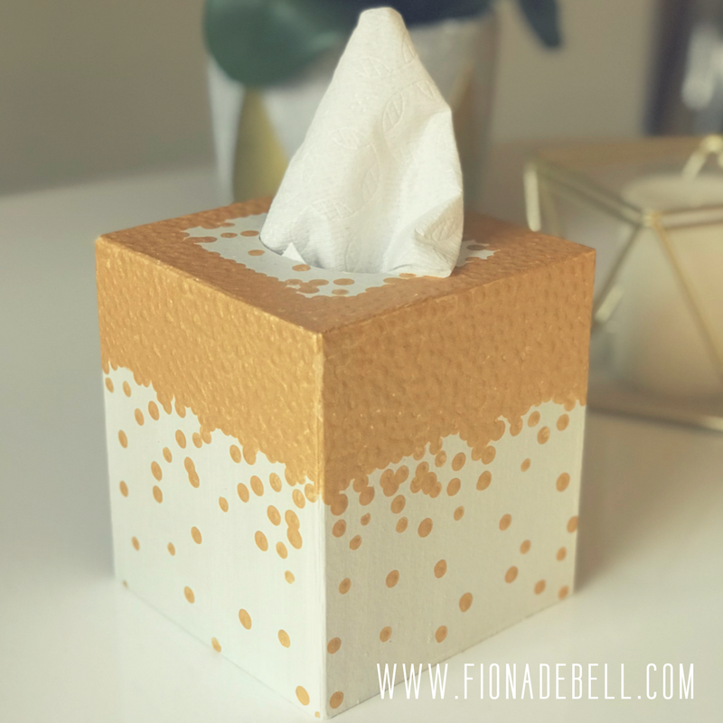 Pretty hand painted tissue box holder.  |  fionadebell.com
