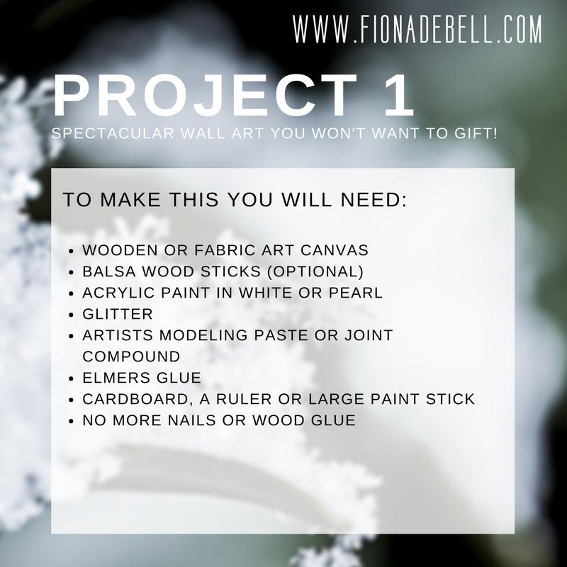 List of supplies to create glitter art. | fionadebell.com