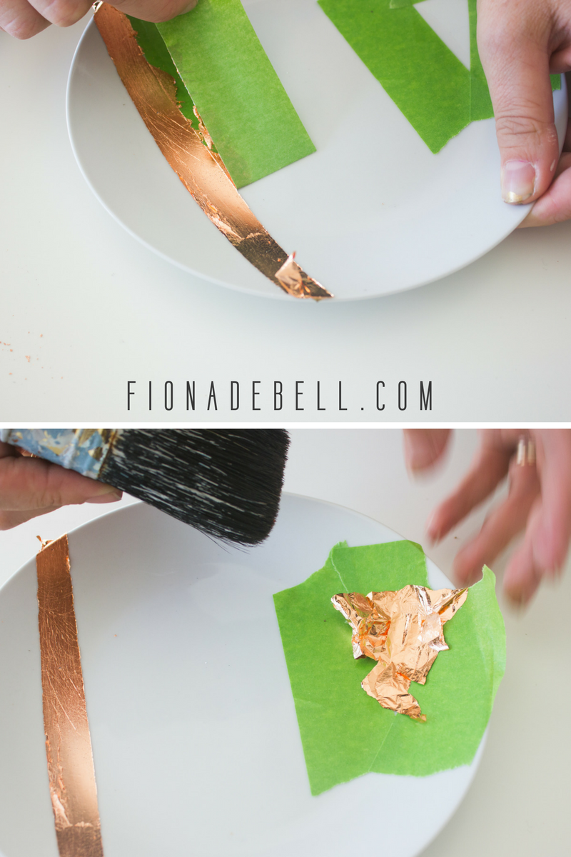 Copper leaf stripes on white china. | fionadebell.com