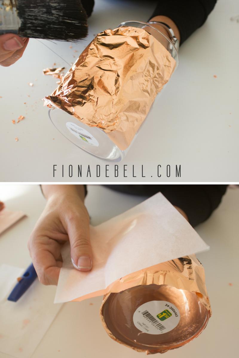 Apply copper leaf to glass. | fionadebell.com