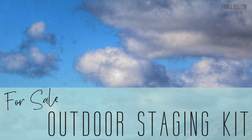 Tonge in cheek image of sky with 'for sale outdoor staging kit'. | fionadebell.com