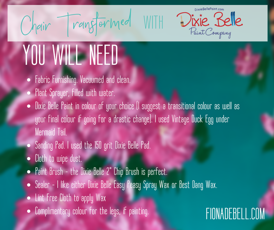 List of items you will need to paint an upholstered chair. | fionadebell.com