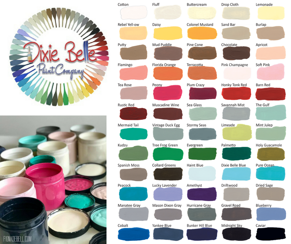 DIXIE BELLE PAINT COMPANY COLOUR CHART AND PAINT POST.  |  FIONADEBELL.COM