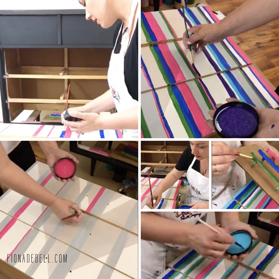 Stills of Fiona Debell painting an MCM dresser with stripes during a LIVE video for Dixie Belle paint.  |  fionadebell.com