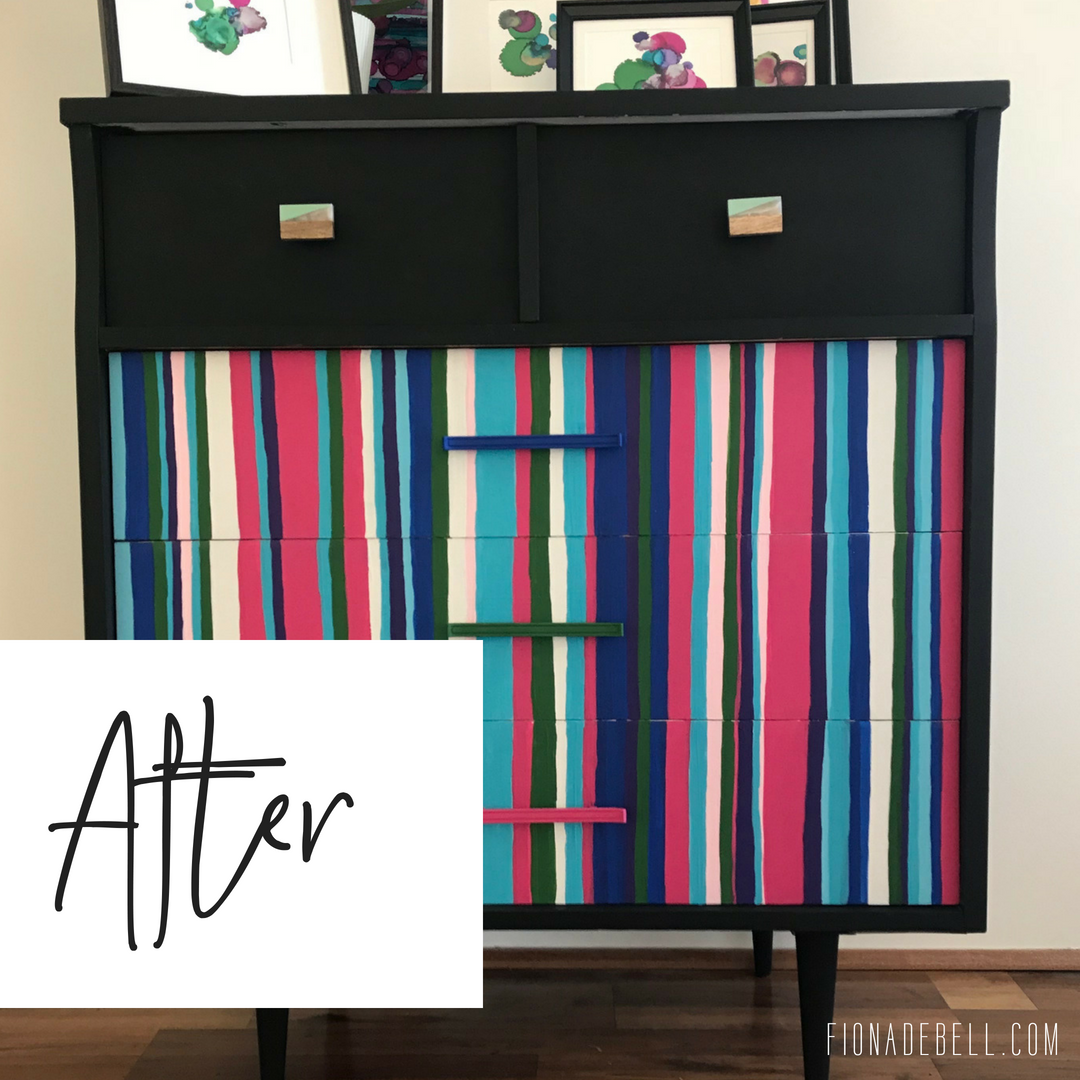 The 'After' of a painted MCM dresser by Fiona Debell using Dixie Belle paint.  |  fionadebell.com
