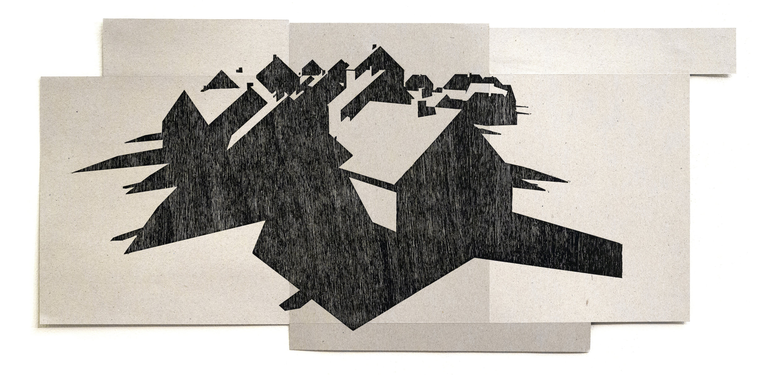 "No. 14, Woodcut on Chipboard, 14.5"" x 30"", 2013"