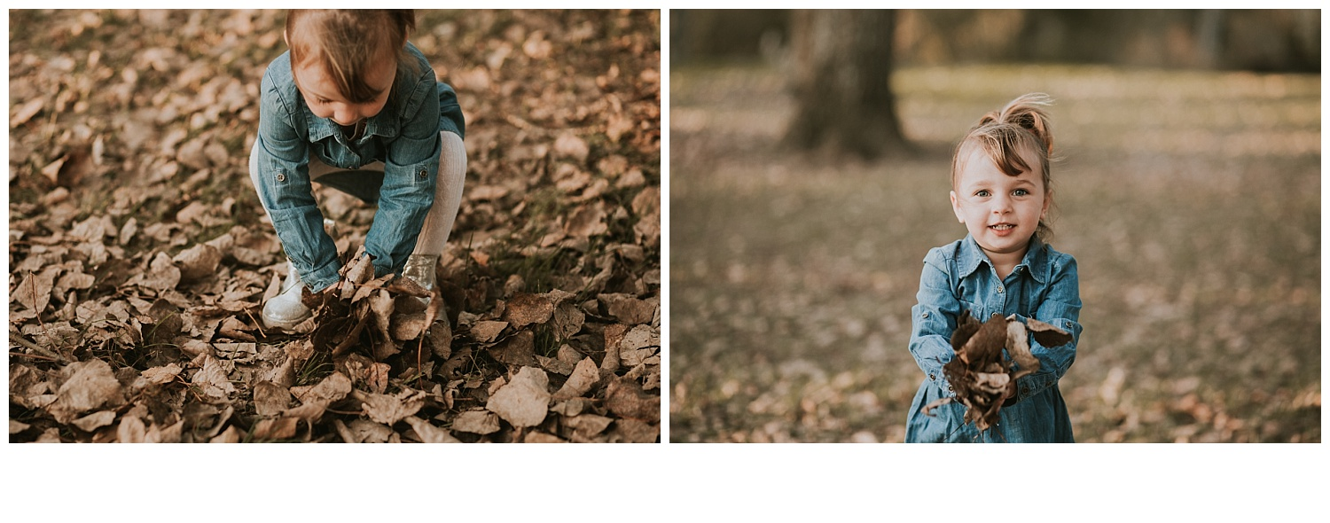 girl throwing leaves in autumn photoshoot