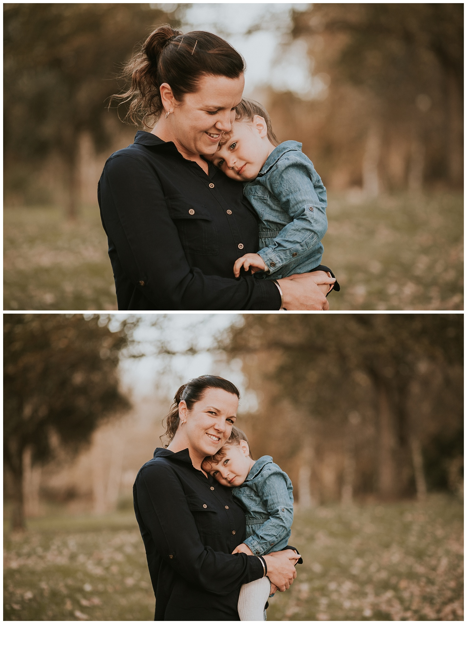 mother and daughter hugging in photoshoot
