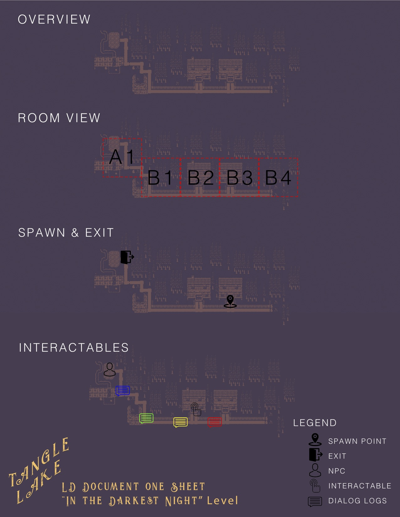 """Level Design One Sheet for the """"In the Darkest Night"""" Level"""