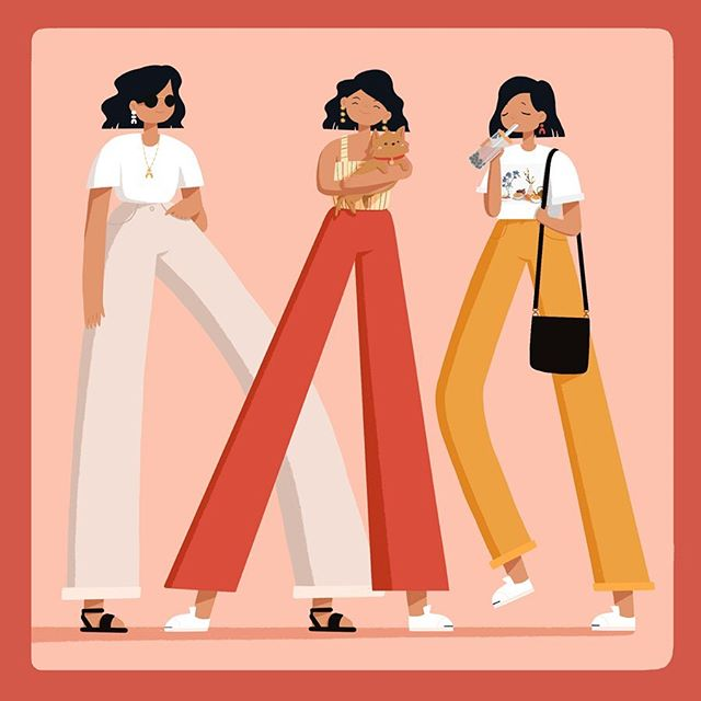 First #outfitxdiary post! Those who know me, know I love my wide leg pants and statement earrings✨(also my dog and boba). Thanks to my wickedly talented bf @_baomii for creating this hashtag/challenge. It's such a fun way to document my favorite outfits 🧡