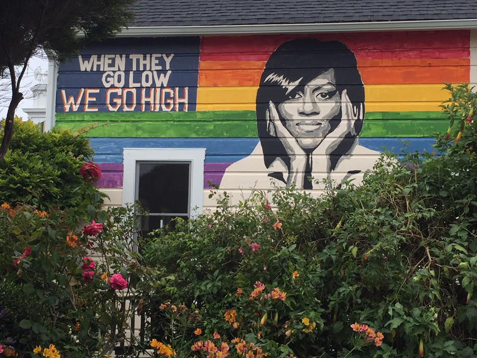 Michelle Obama mural on Mendocino Cafe