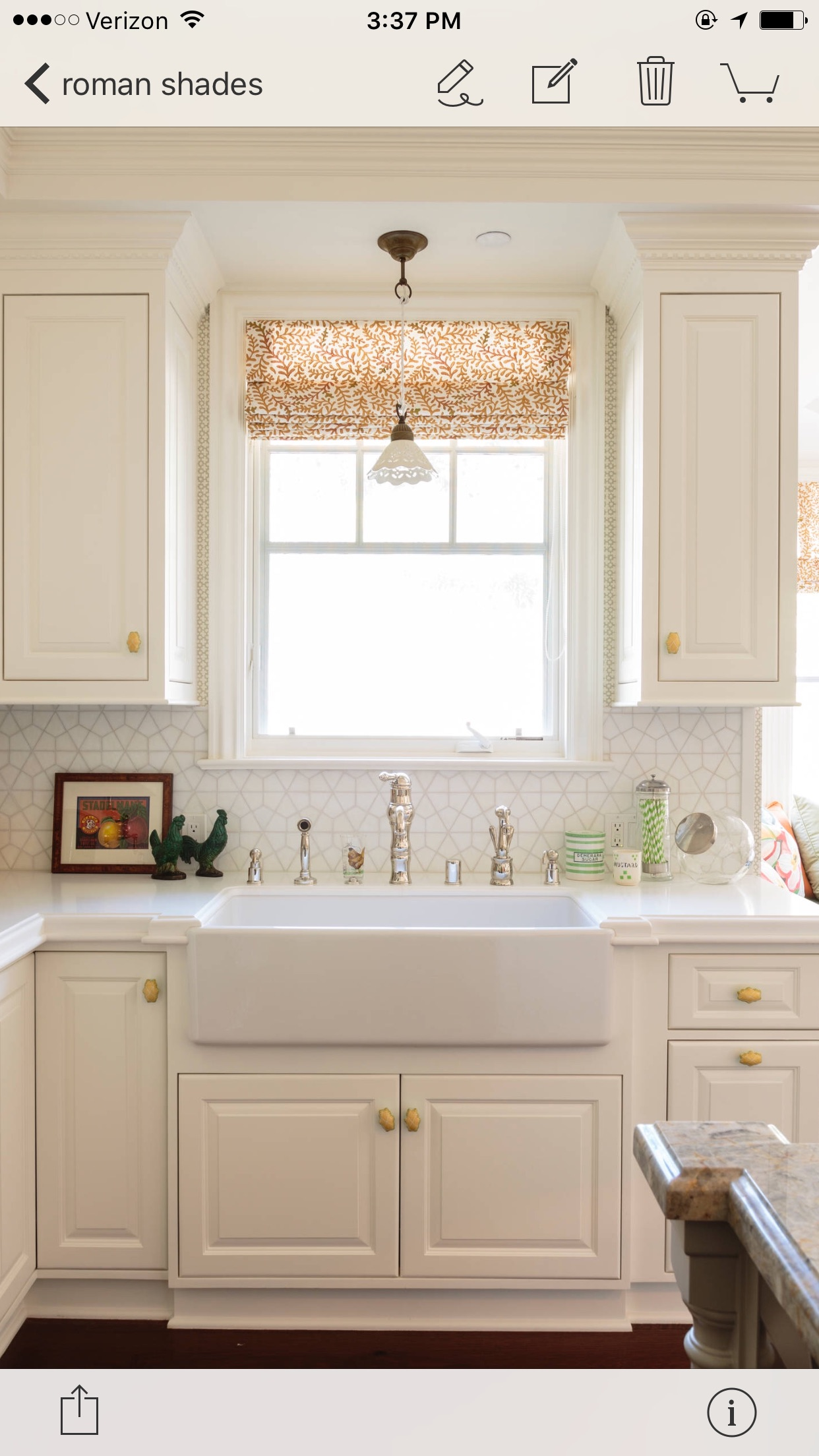 Add a Pop of Color to a White Kitchen with a Roman Shade ...