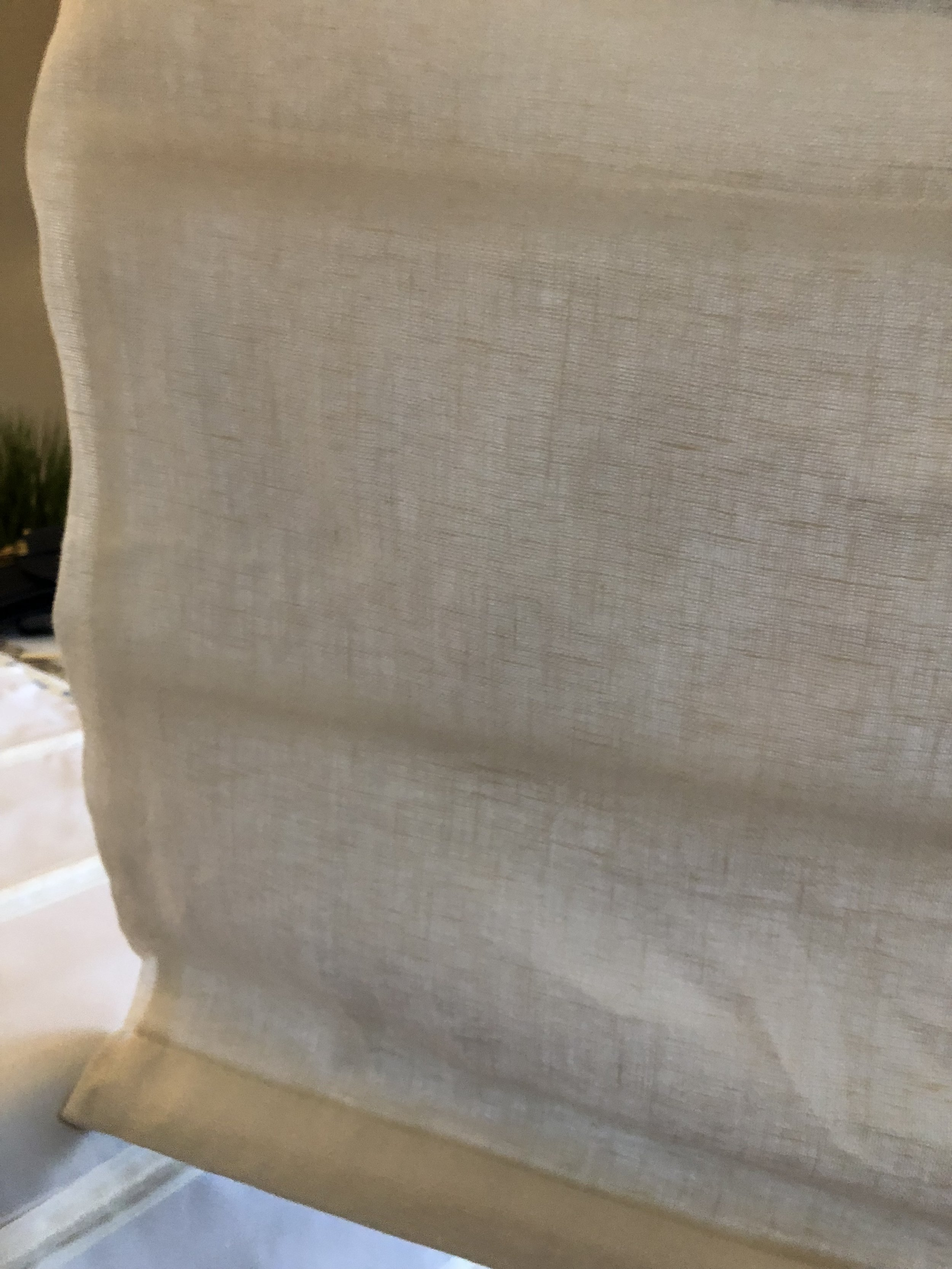 Linen- Not enough structure to sides of shade, therefore, won't be as straight on edges. Not ideal for shades!