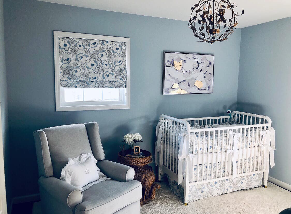 Custom Crib Bedding with matching roman shade