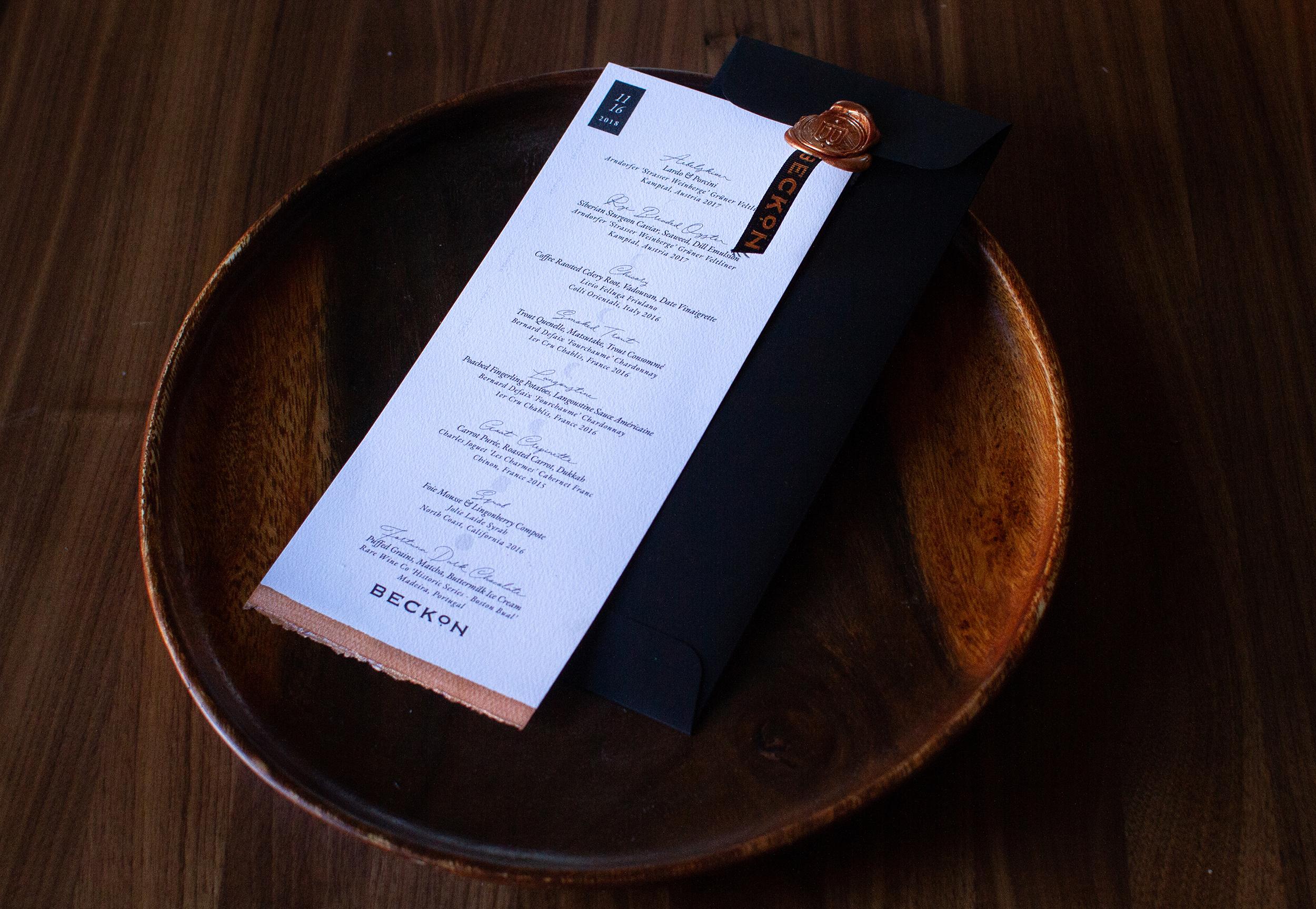 Take home menu and enclosure design.