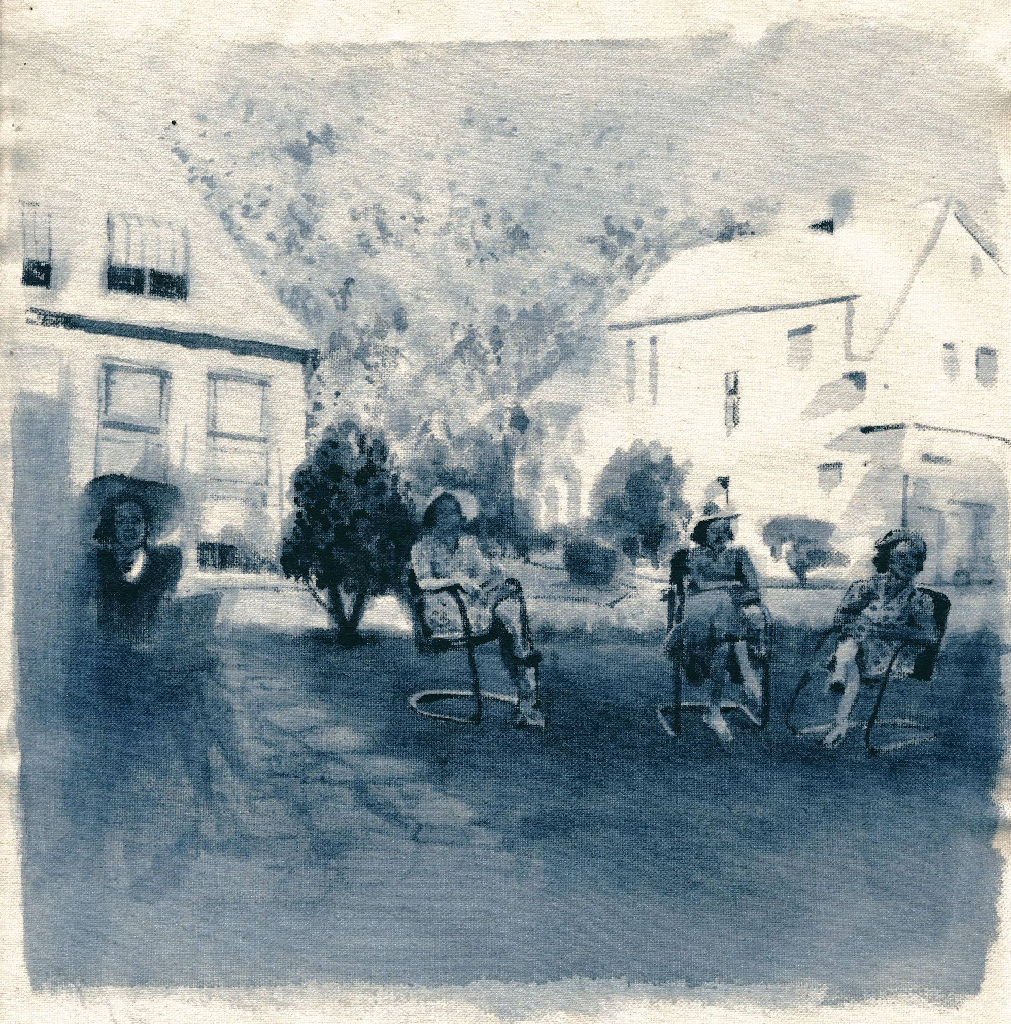 """Ancestors II,"" Indigo Ink on Canvas by Maggie Hubbard"