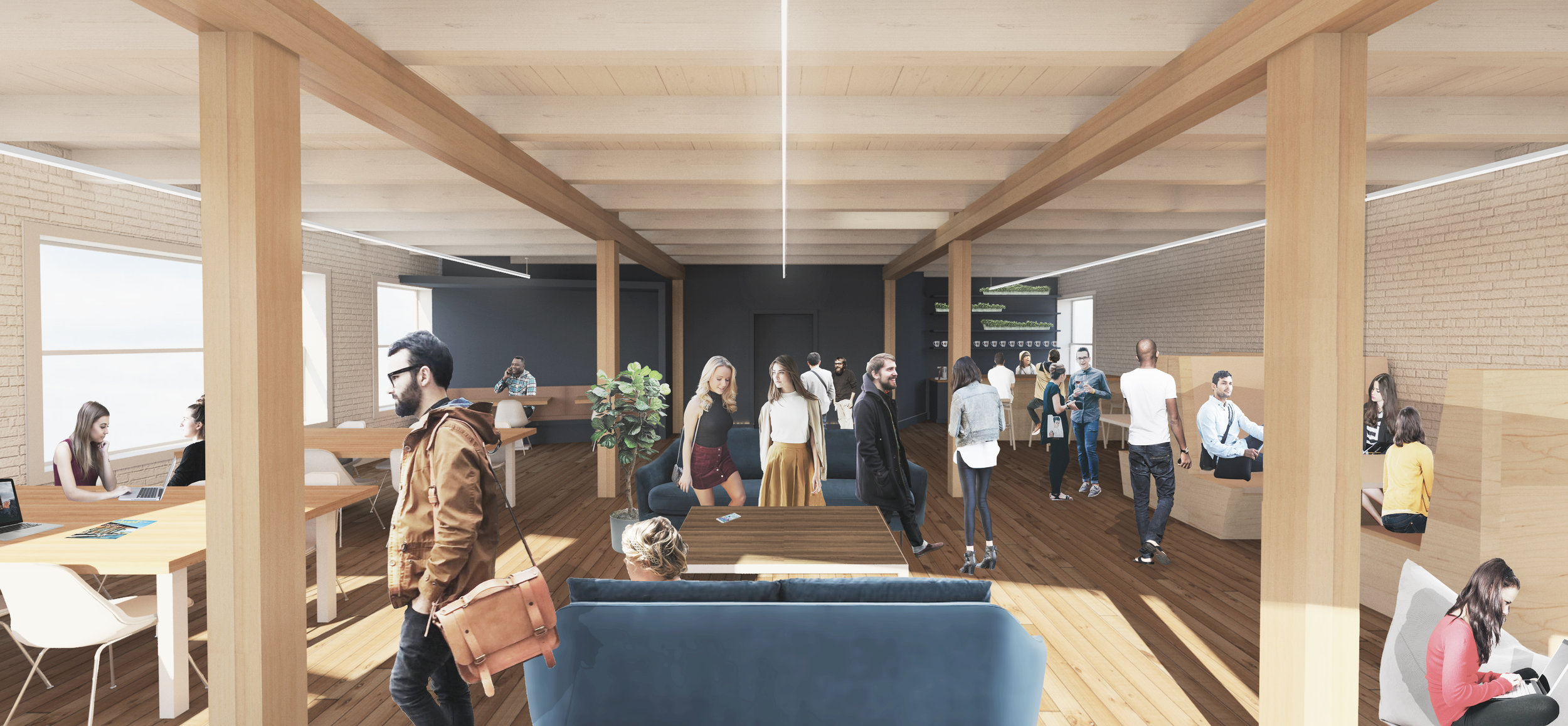 A schematic rendering envisioned a lively atmosphere.