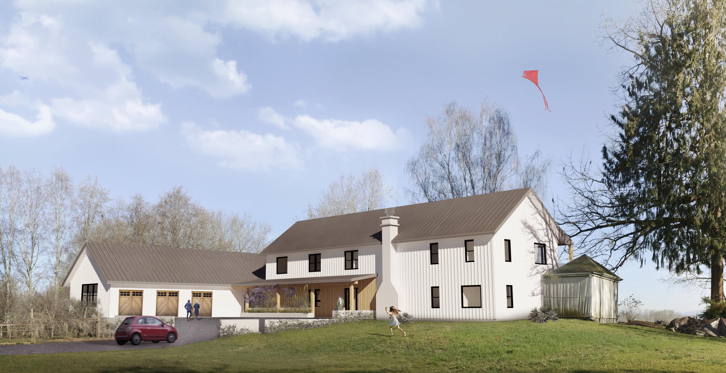The new house embraces a farmhouse aesthetic.