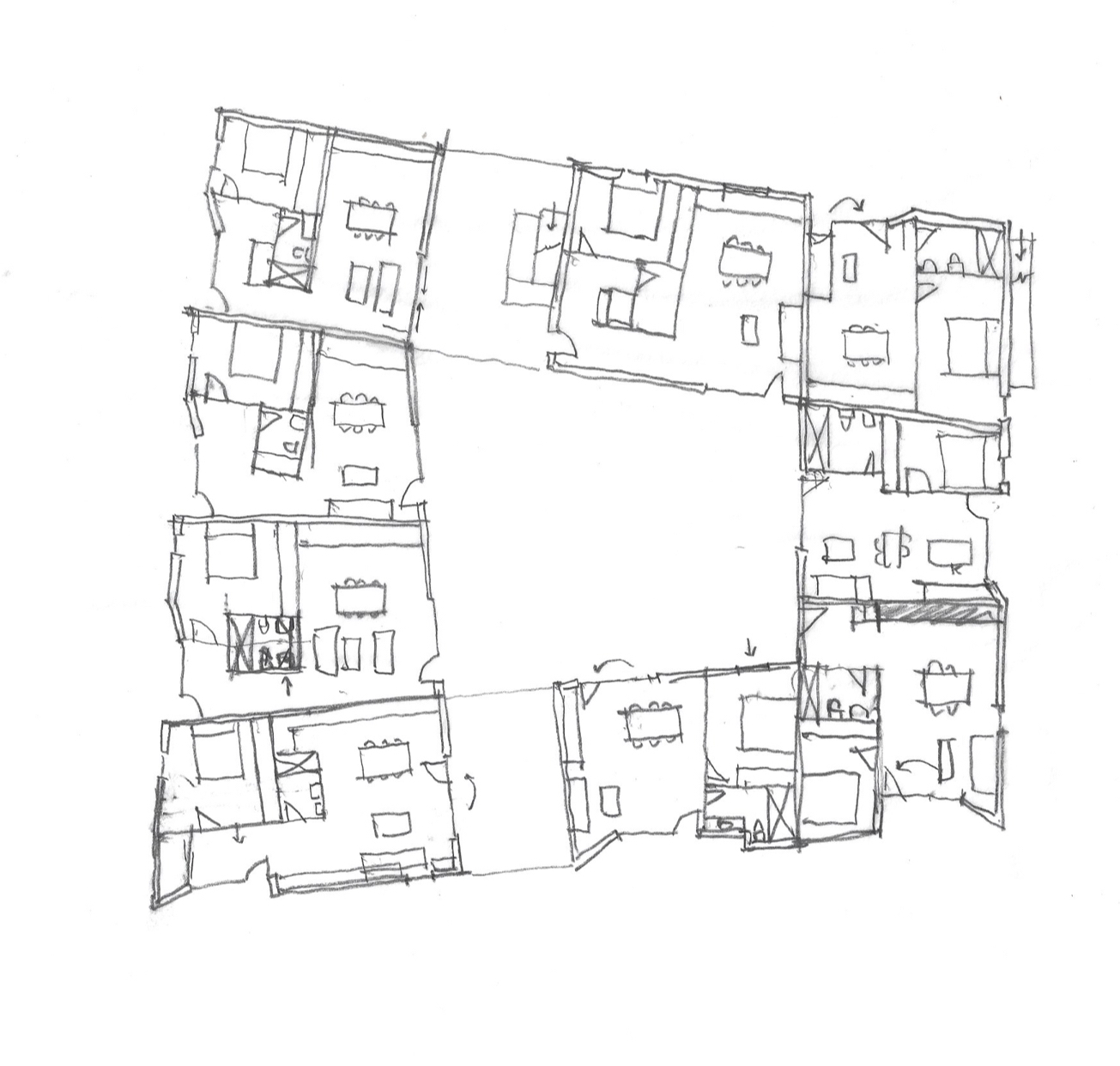 Early floor plan sketch