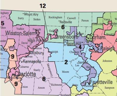 Central North Carolina's Gerrymandered Districts 2012