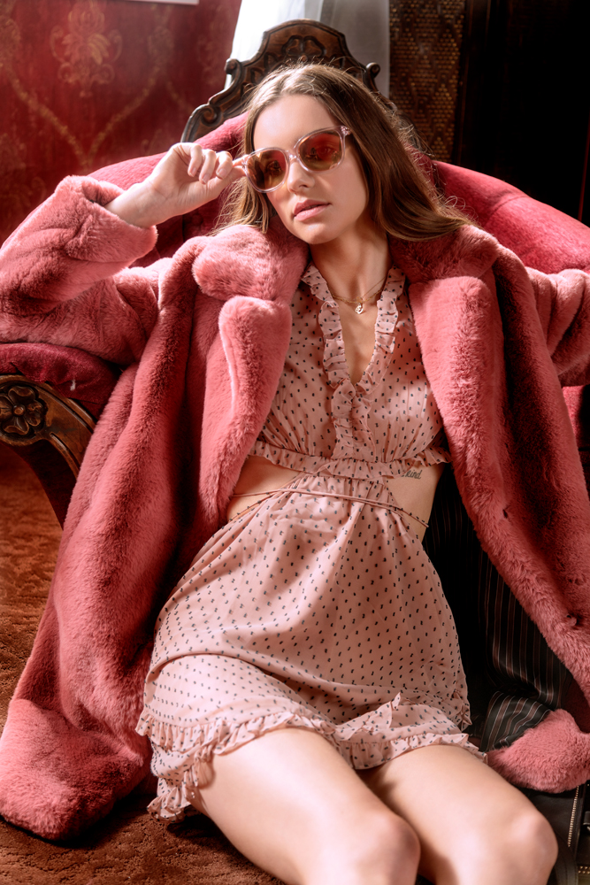 On Ashley:    Marili Coat,    MKT Studio.    Allegria Dress   , WAYF. Sunglasses,    Michael Kors   .