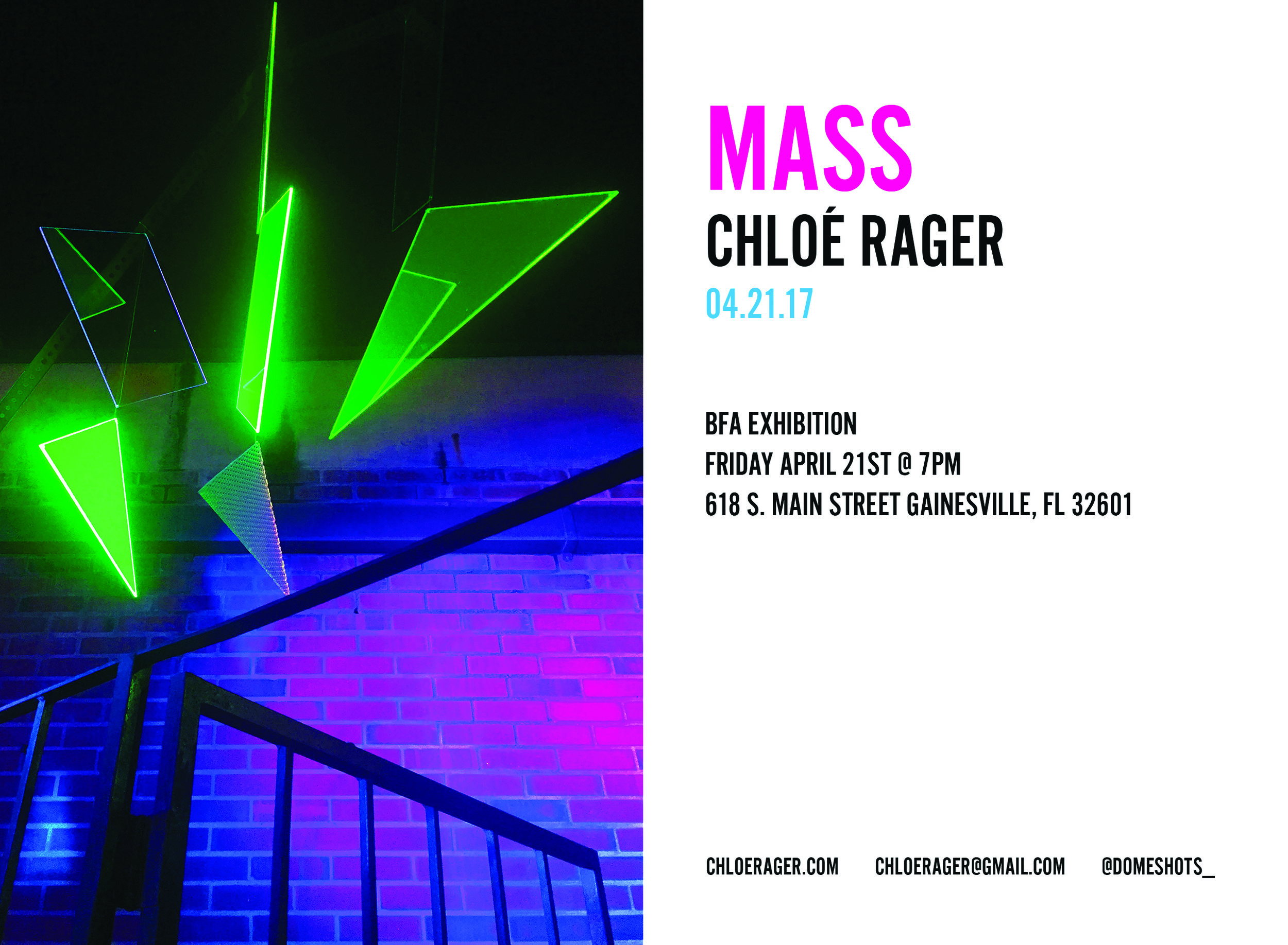 MASS Exhibition press    Rager, Chloé 2017, 'MASS', BFA thesis, The University of Florida, <http://ufdc.ufl.edu/AA00057978/00001>.