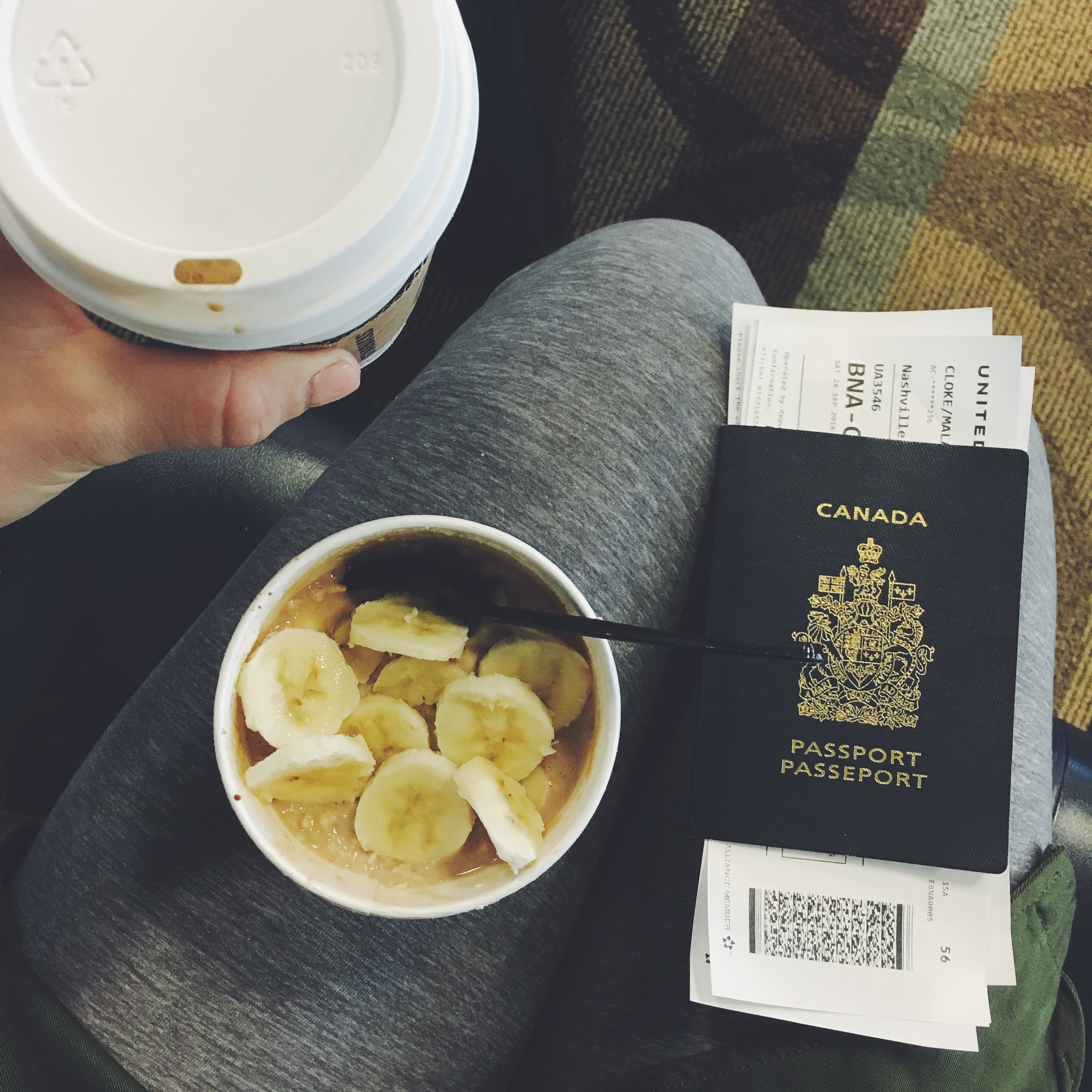 A simple airport breakfast: Starbucks oatmeal (no toppings) + banana + protein powder (bring your own) ... and a flat white.  I take pictures of my food because it helps keeps me present with what's right in front of me and sometimes I swear I enjoy food more when I actually take the time to recognize it with my camera.