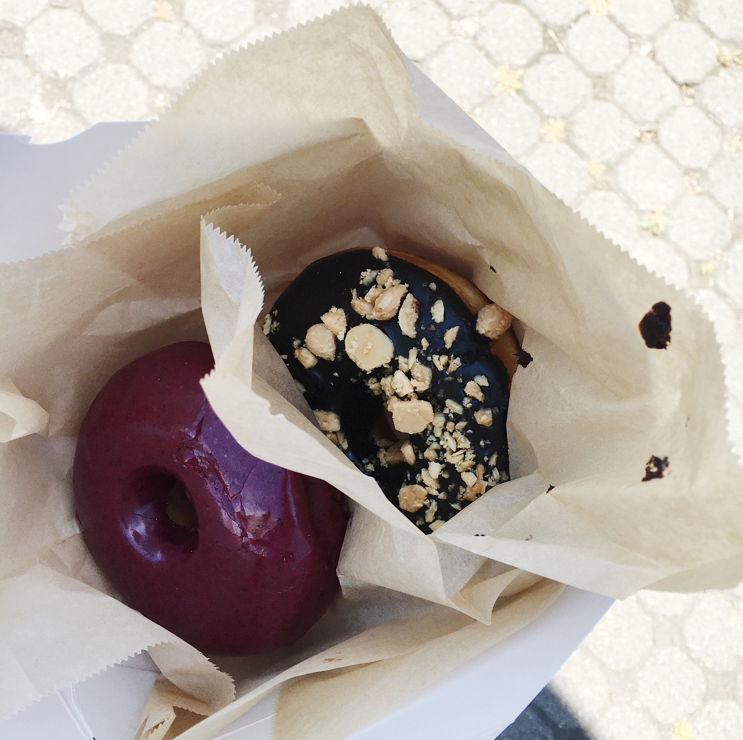 Blueberry bourbon basil and chocolate almond ganache donuts from Blue Star.