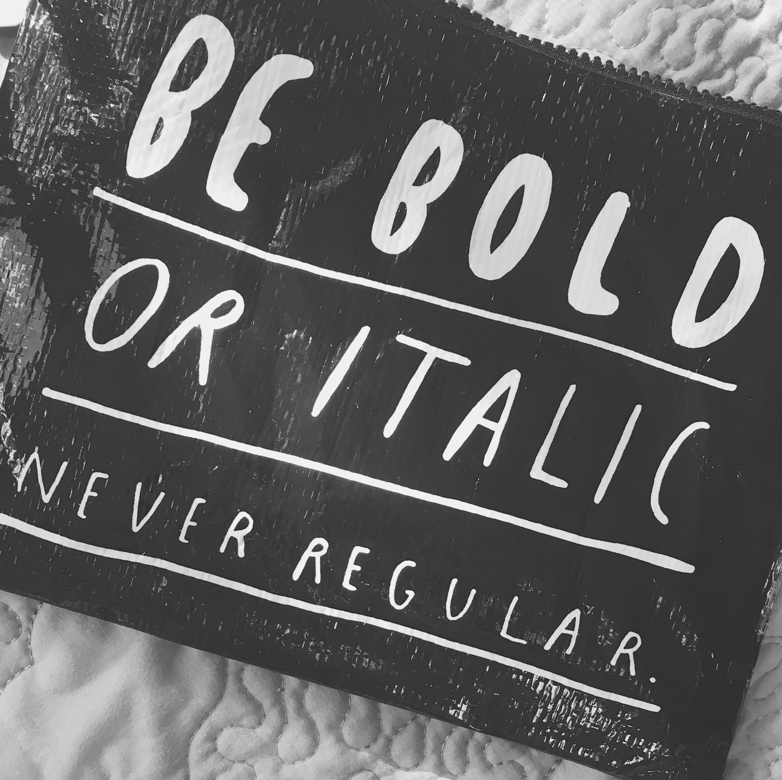 Typography says be bold or italic.  This silly $6 pencil/tablet/makeup/whatever case for the typography nerd in me.  I still haven't decided what I'm going to use it for but I'm sure something will come up.