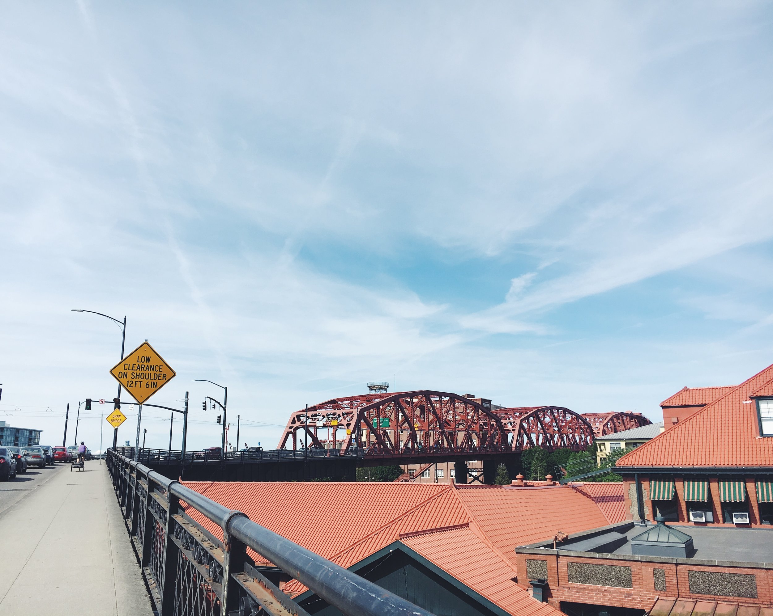 Just before I sprinted up hill across Portland's broadway bridge on my way out of downtown.  Biking was fun this day.