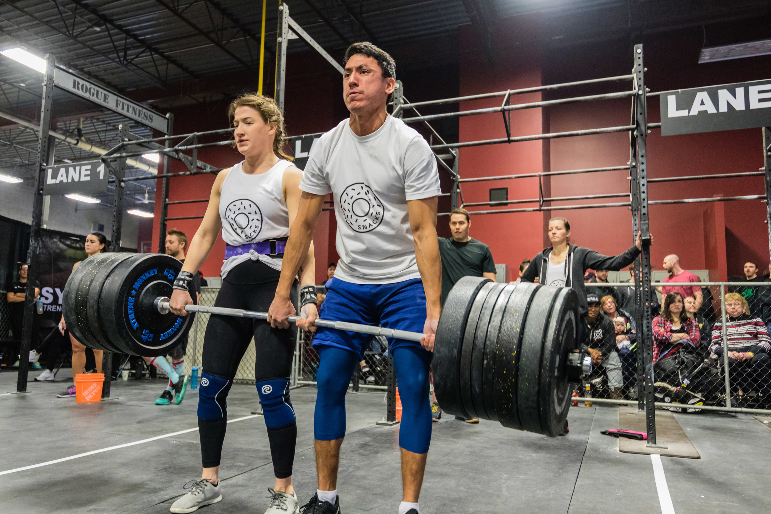 Half of team 'Do It For The Snacks' deadlifting 480 lbs together ... for the snacks.