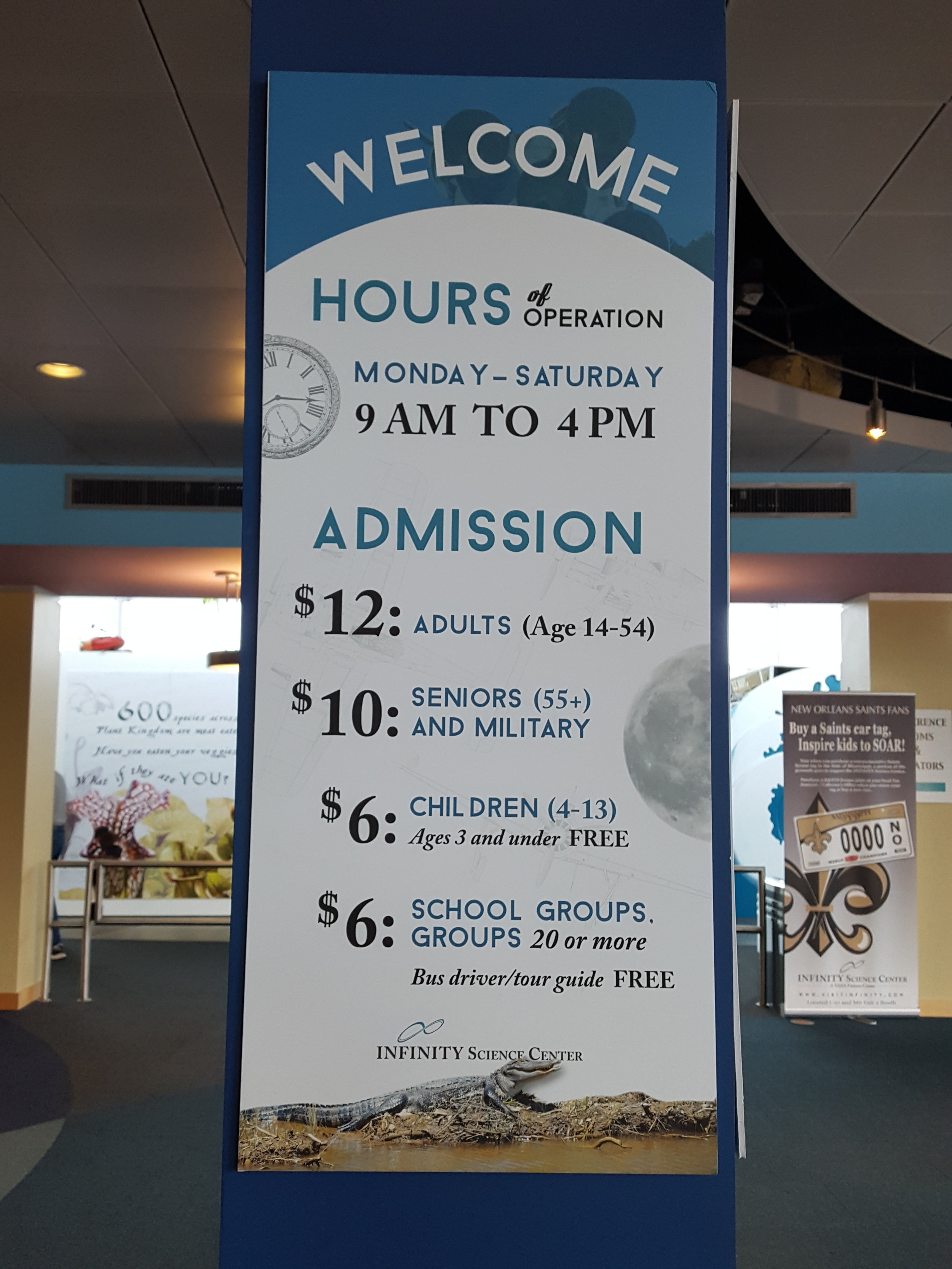 Cost of admission to the INFINITY Science Center