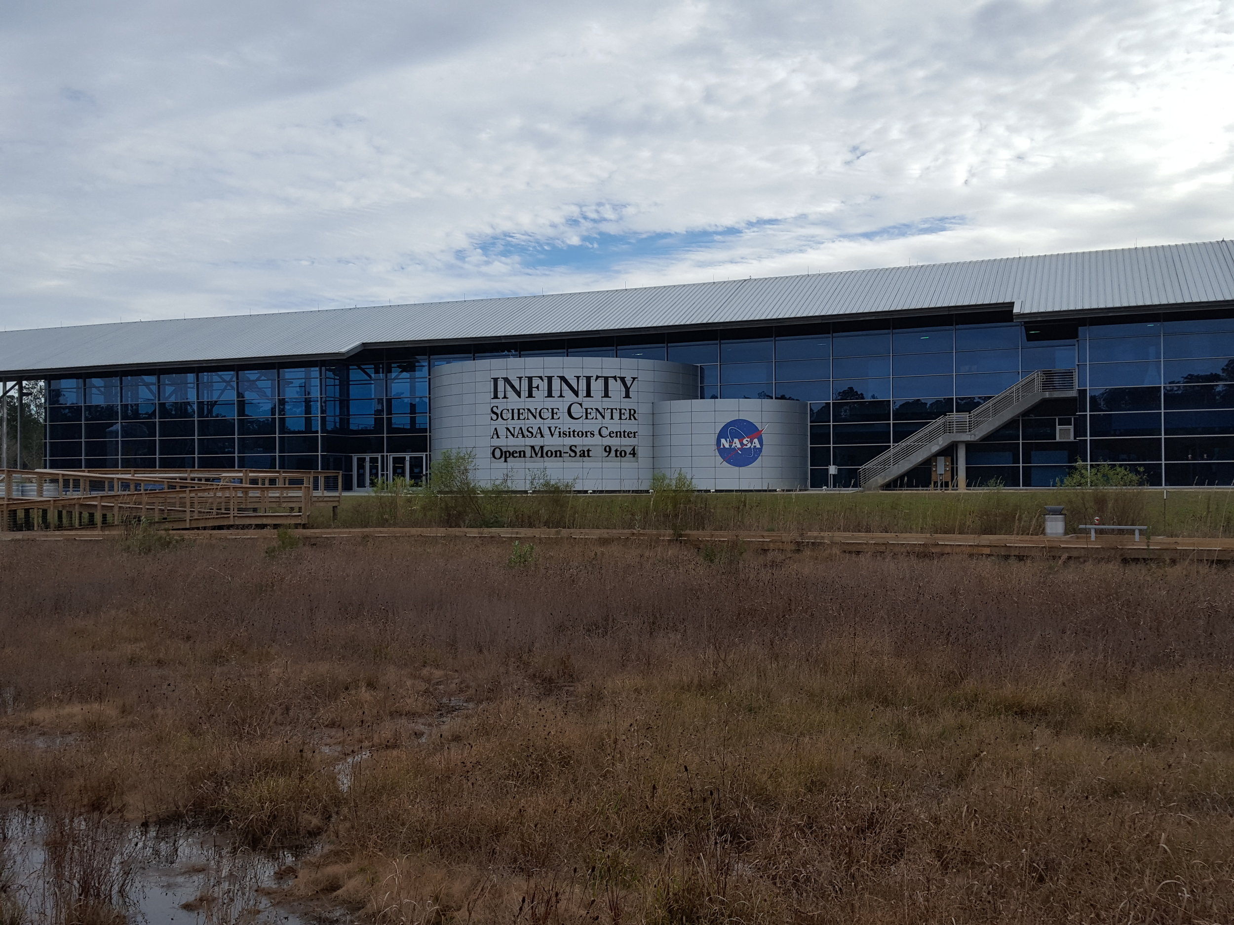 Front view of INFINITY Science Center in Hancock County, Mississippi