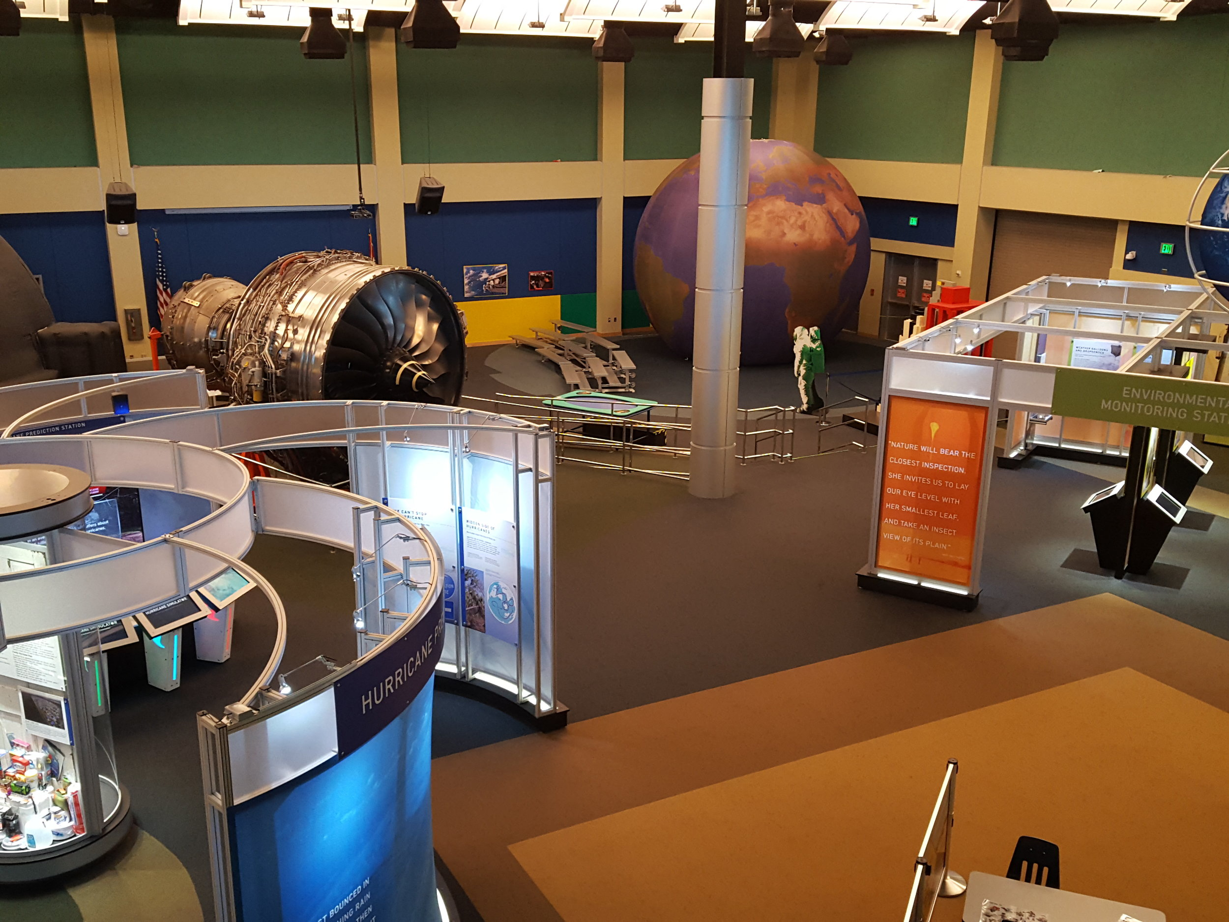 Main floor exhibits including a hurricane weather exhibit, a rocket engine, buoy research and a giant blow up replica of Earth!