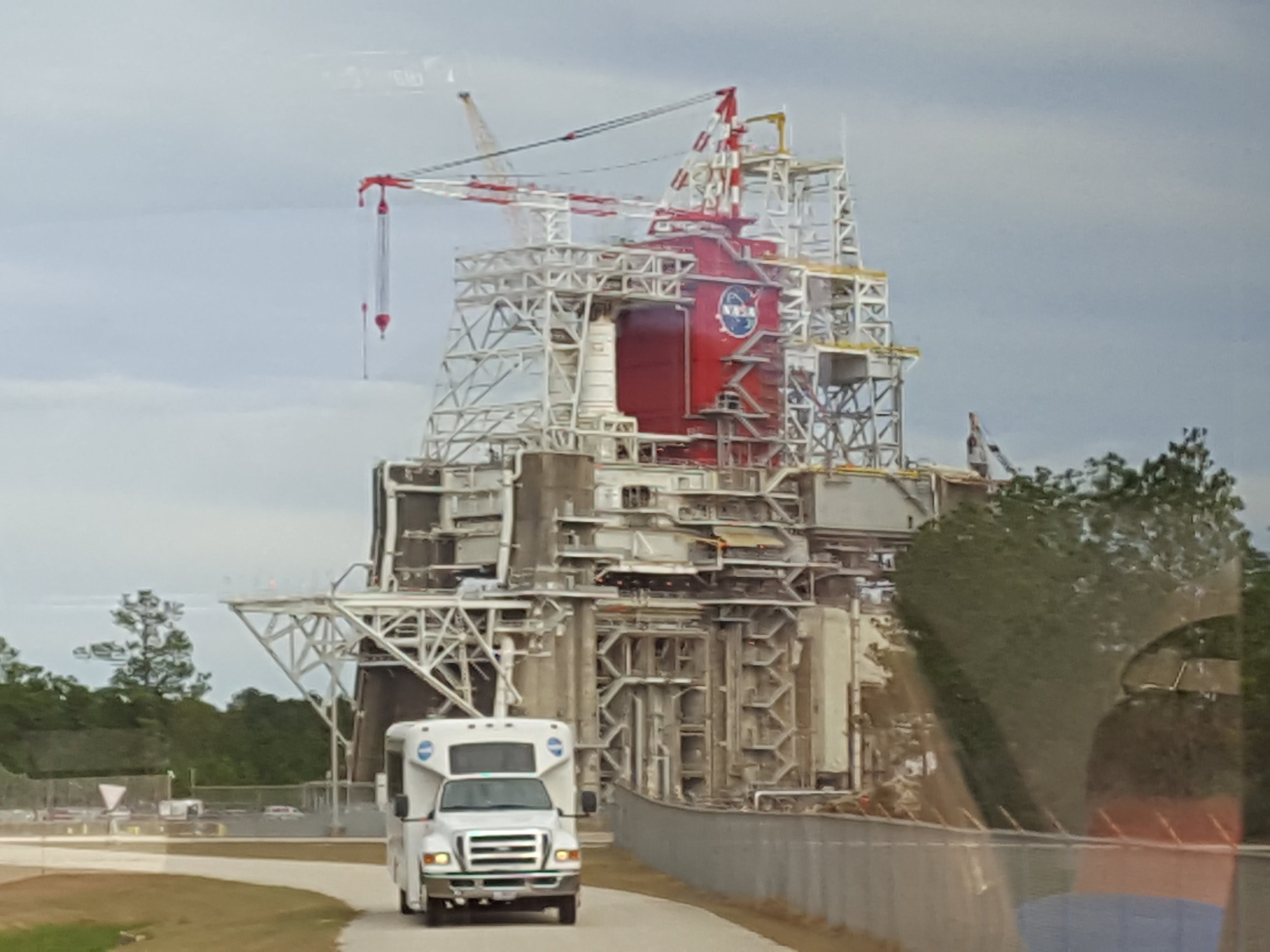 Blurry photo of a main test stand on John C. Stennis Space Center, apologies, it was taken from a moving tour bus through a dirty window.
