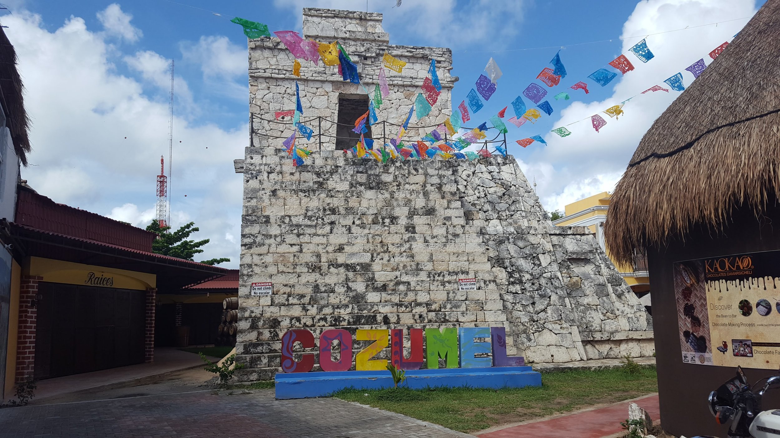 A beautiful tourist monument in downtown Cozumel amidst the shops, Cozumel, Mexico 2019