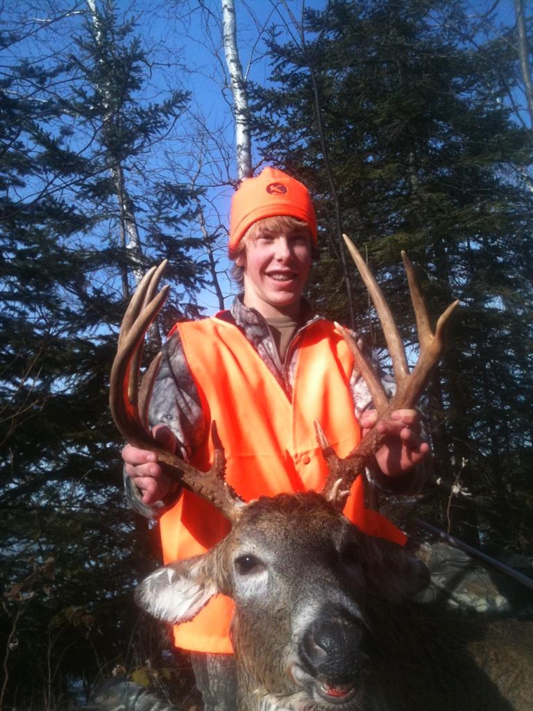 "Kale's buck, a 142"" 11 pointer."
