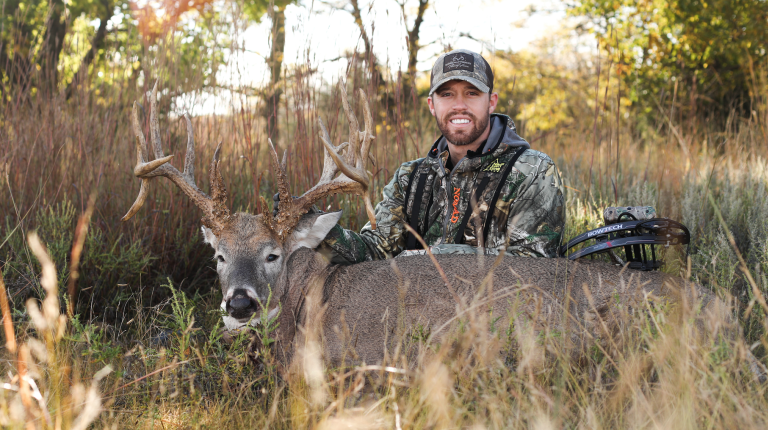 """Trail Cameras helped Trent know when to go in and hunt """"Mufasa"""" this season, and he was able to successfully harvest the 224"""" Kansas monster."""