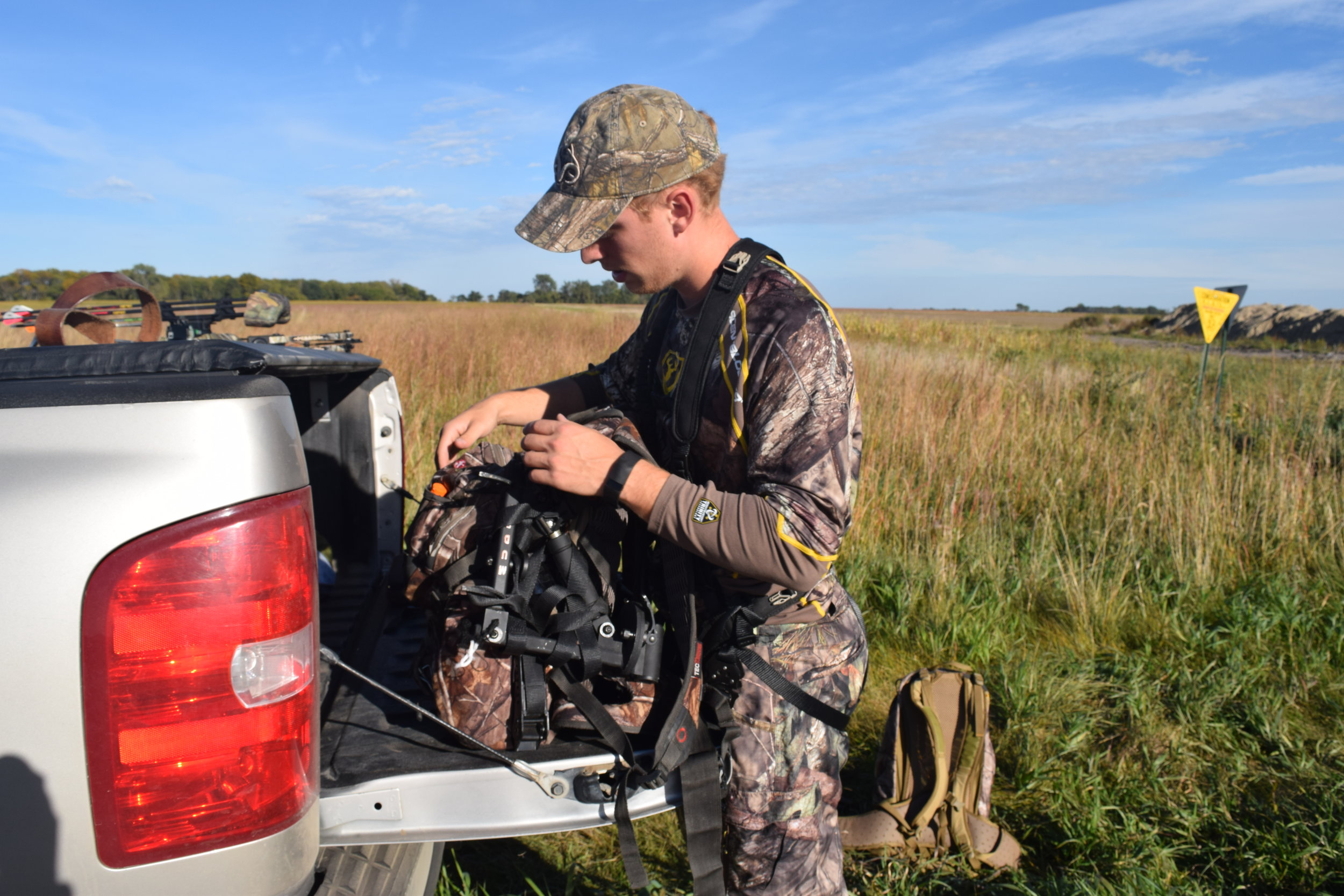 Strapping your camera arm and base to the outside of your pack will make the haul into the stand much more tolerable.