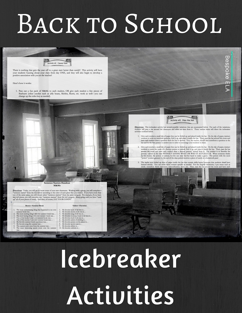 Icebreaker Activities from Bespoke ELA-- FREEBIE!